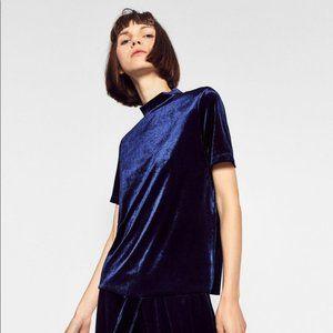 Zara Blue Velvet High Neck Top